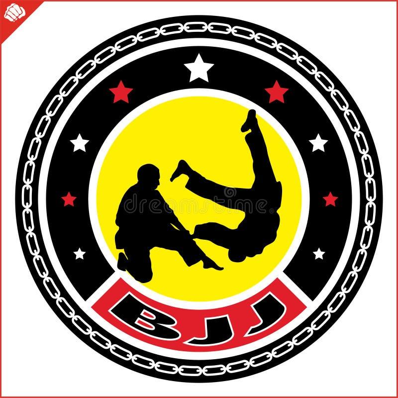 Βραζιλιανό jitsu jiu, έμβλημα BJJ Χρωματισμένο πολεμική τέχνη σχέδιο simbol Διάνυσμα, eps ελεύθερη απεικόνιση δικαιώματος
