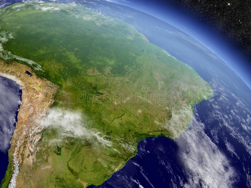 Βραζιλία από το διάστημα διανυσματική απεικόνιση