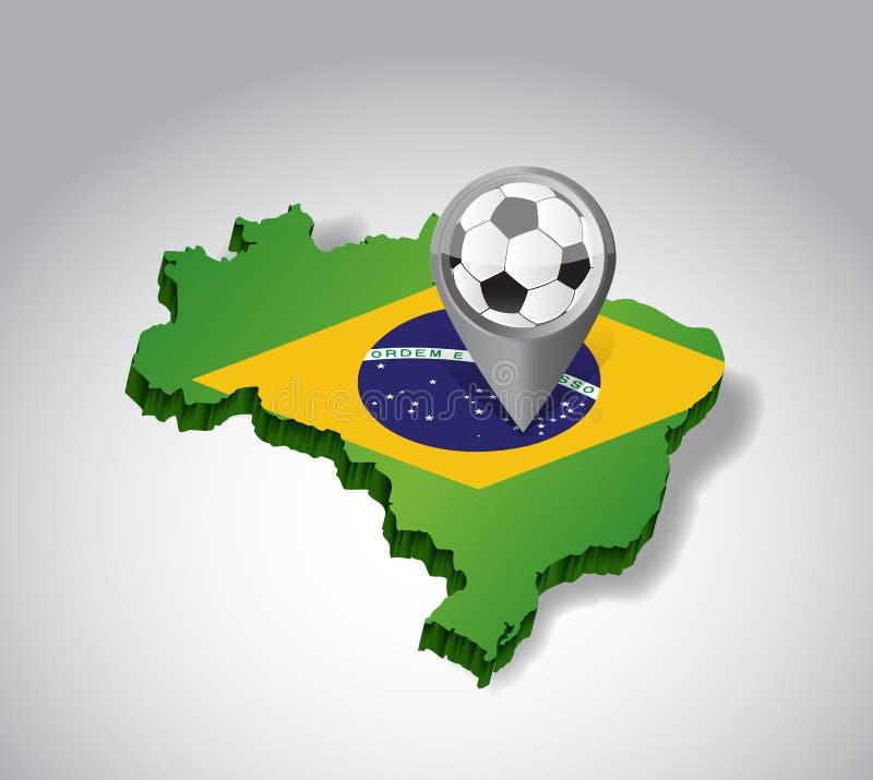 Βραζιλία. Βραζιλιάνα απεικόνιση έννοιας ποδοσφαίρου διανυσματική απεικόνιση