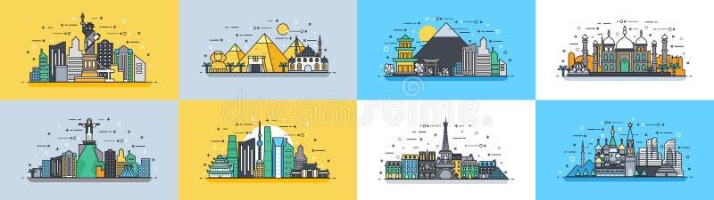 Βραζιλία γραμμικό ύφος εικονιδίων ταξιδιού της ρωσικής Γαλλίας, Ιαπωνία, Ινδία, χώρα πόλεων κωμοπόλεων κτηρίων αρχιτεκτονικής της ελεύθερη απεικόνιση δικαιώματος