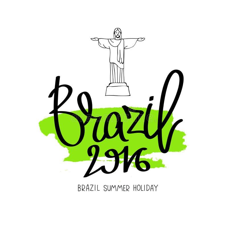Βραζιλία 2016 Η καλλιγραφία τάσης ελεύθερη απεικόνιση δικαιώματος