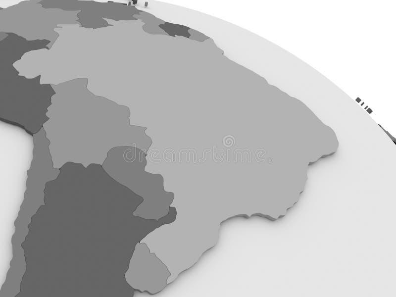 Βραζιλία στον γκρίζο τρισδιάστατο χάρτη ελεύθερη απεικόνιση δικαιώματος