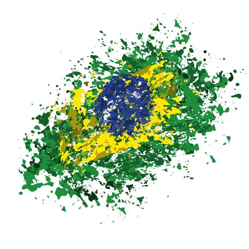 Βραζιλιάνα σημαία grunge διανυσματική απεικόνιση
