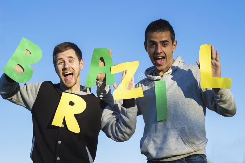 Βραζιλιάνοι ανεμιστήρες αθλητικού ποδοσφαίρου στοκ φωτογραφία