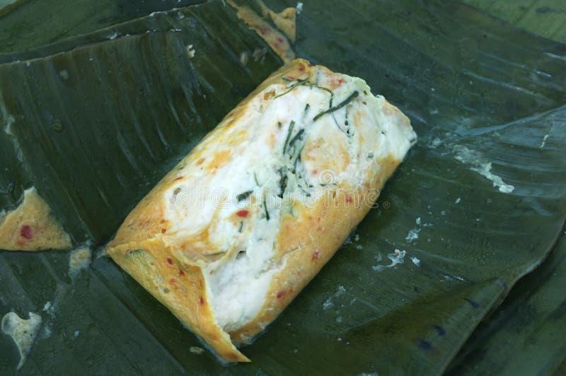 Βρασμένα στον ατμό ψάρια με την κόλλα κάρρυ, ταϊλανδικά τρόφιμα στοκ εικόνες