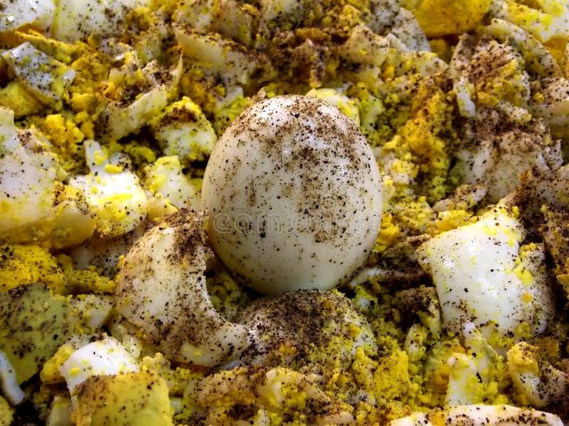 Βρασμένη περικοπή αυγών υπό μορφή μικροσκοπικών φετών με το πιπέρι στην κορυφή στοκ φωτογραφία με δικαίωμα ελεύθερης χρήσης