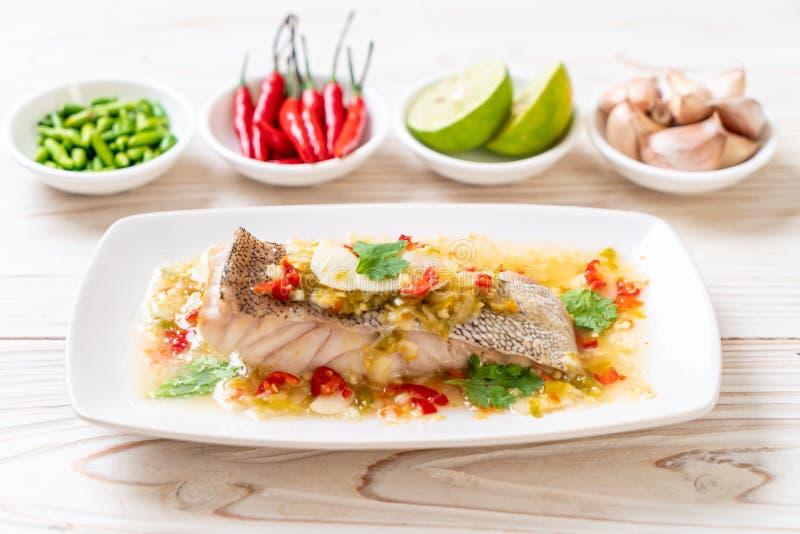 Βρασμένη στον ατμό Grouper λωρίδα ψαριών με τη σάλτσα ασβέστη τσίλι στη σάλτσα ασβέστη στοκ φωτογραφία με δικαίωμα ελεύθερης χρήσης