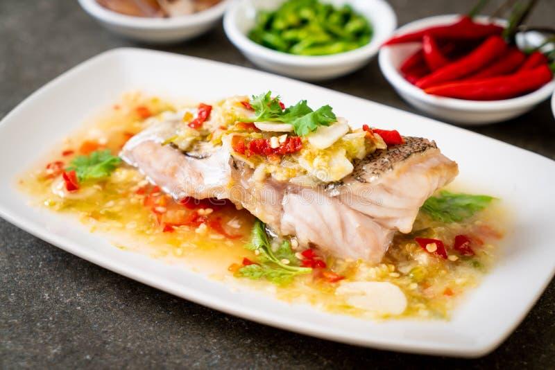 Βρασμένη στον ατμό Grouper λωρίδα ψαριών με τη σάλτσα ασβέστη τσίλι στη σάλτσα ασβέστη στοκ εικόνες