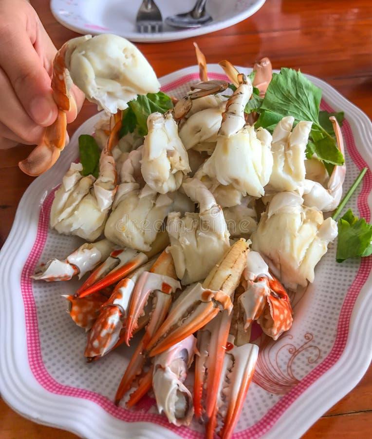 Βρασμένο στον ατμό κινηματογράφηση σε πρώτο πλάνο κρέας καβουριών, θηκάρι ή κουπί-πόδι, ταϊλανδικά ασιατικά θαλασσινά στοκ φωτογραφία