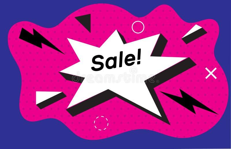 Βραχίονας, κωμική λεκτική φυσαλίδα Έννοια αφισών και αυτοκόλλητων ετικεττών πώλησης εμβλημάτων, γεωμετρικό ύφος της Μέμφιδας με τ ελεύθερη απεικόνιση δικαιώματος