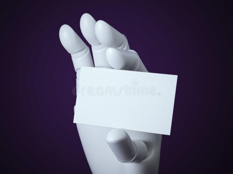 Βραχίονας ρομπότ με την κενή άσπρη επαγγελματική κάρτα απεικόνιση αποθεμάτων