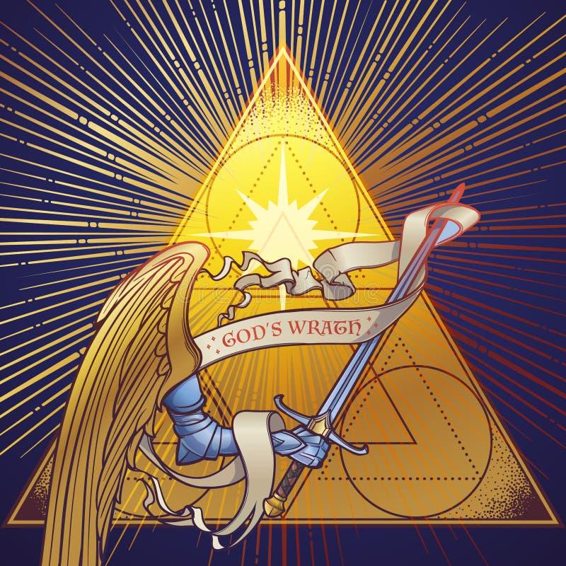 Βραχίονας Michaels αρχαγγέλων στο τεθωρακισμένο που κρατά ένα ξίφος σε ένα χρυσό τρίγωνο με τις ελαφριές ακτίνες που ακτινοβολούν ελεύθερη απεικόνιση δικαιώματος