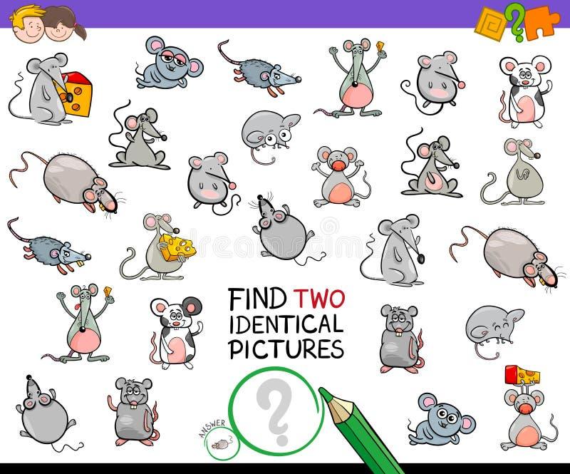 Βρείτε εκπαιδευτική δραστηριότητα δύο την ίδια ποντικιών ελεύθερη απεικόνιση δικαιώματος