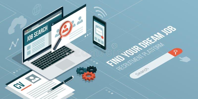 Βρείτε μια εργασία σε απευθείας σύνδεση απεικόνιση αποθεμάτων