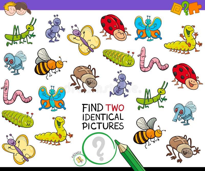 Βρείτε παιχνίδι δύο το ίδιο εικόνων ζωύφιου για τα παιδιά διανυσματική απεικόνιση