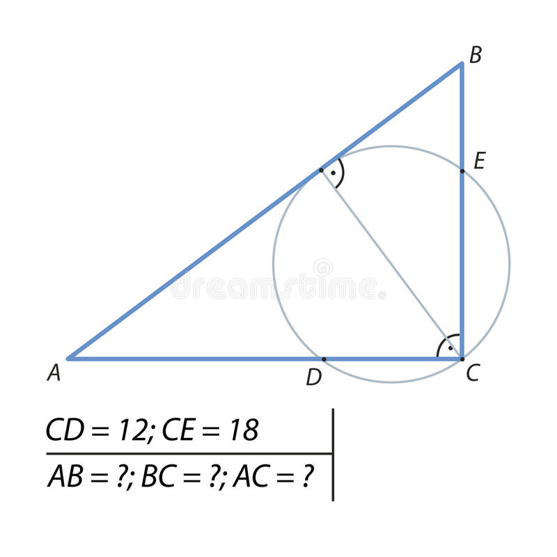 Βρείτε τα πόδια ενός σωστού τριγώνου διανυσματική απεικόνιση