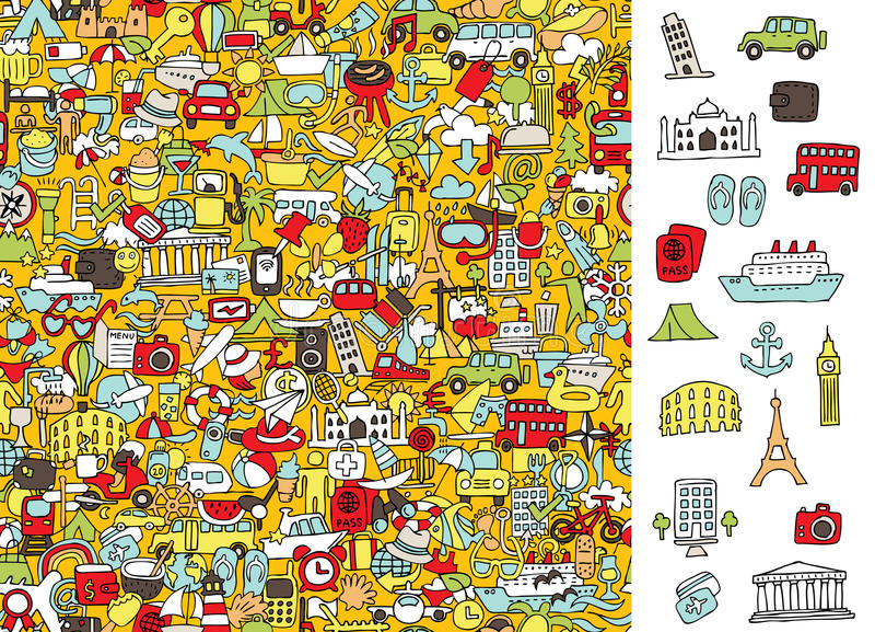 Βρείτε τα σωστά εικονίδια ταξιδιού, οπτικό παιχνίδι Λύση στο κρυμμένο στρώμα! ελεύθερη απεικόνιση δικαιώματος
