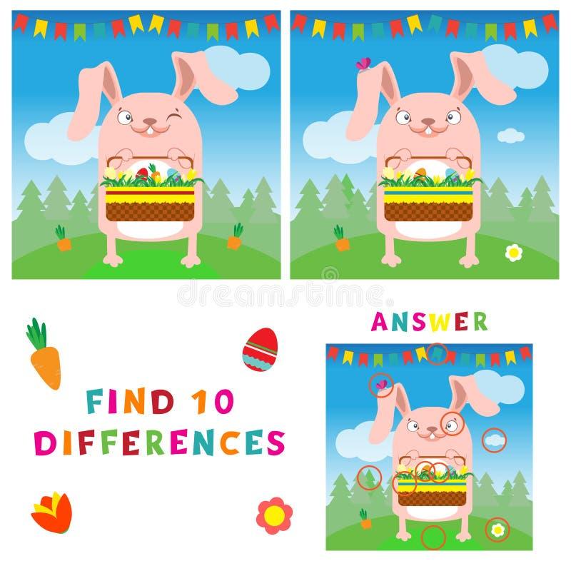Βρείτε την απεικόνιση δέκα διαφορών του λαγουδάκι Πάσχας με τα αυγά διανυσματική απεικόνιση