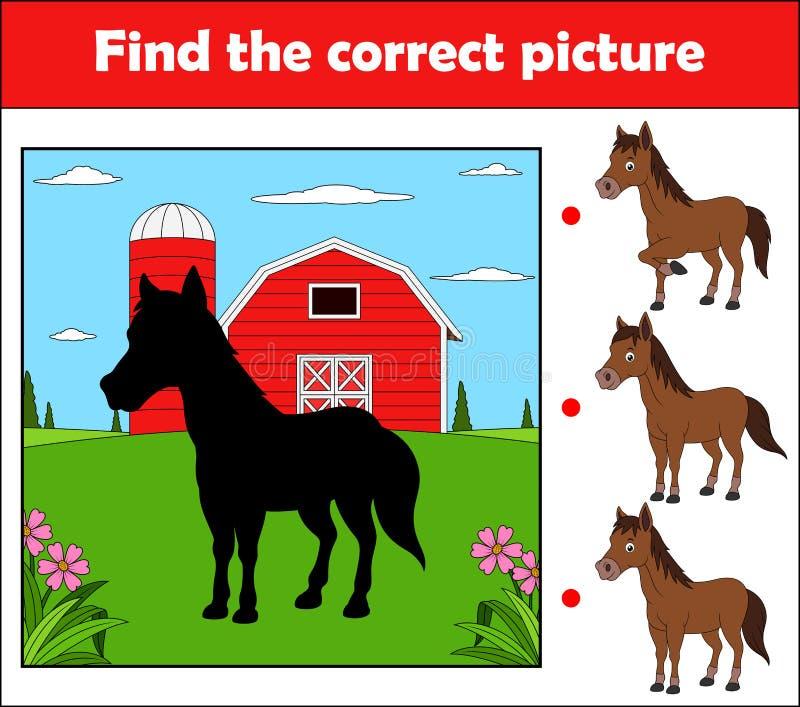 Βρείτε τη σωστή εικόνα, παιχνίδι εκπαίδευσης για τα παιδιά Άλογο στο αγρόκτημα ελεύθερη απεικόνιση δικαιώματος