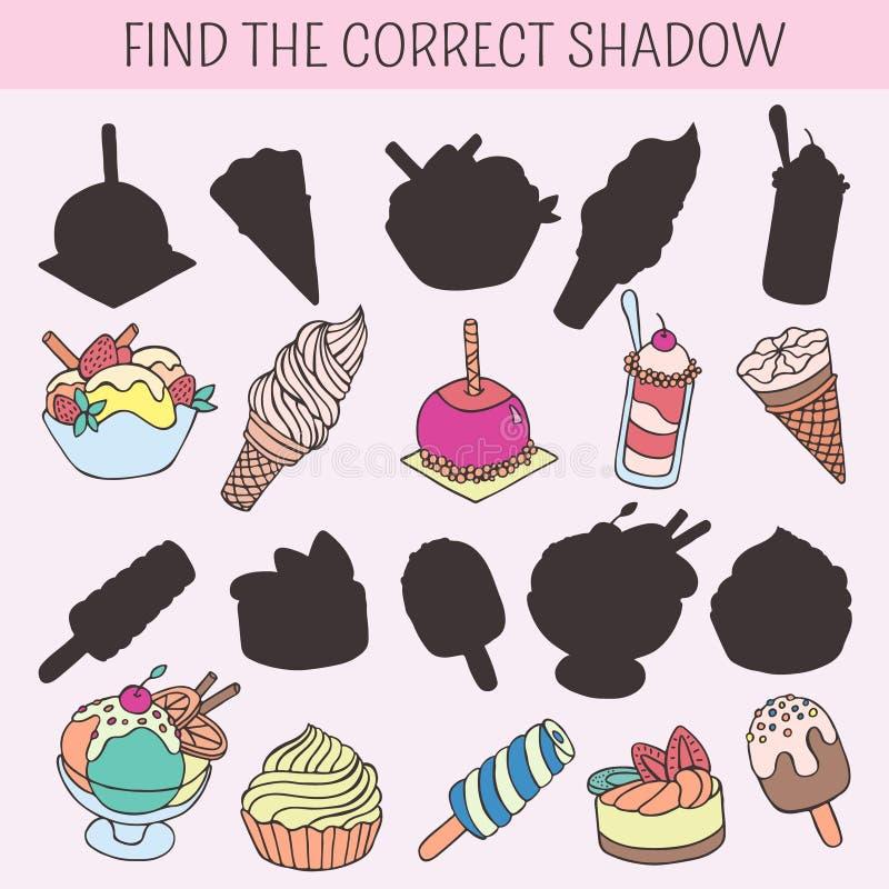 Βρείτε τη σωστή σκιά Εκπαιδευτικό παιχνίδι για τα παιδιά Διανυσματική συρμένη χέρι doodle απεικόνιση Κέικ κινούμενων σχεδίων, cup απεικόνιση αποθεμάτων