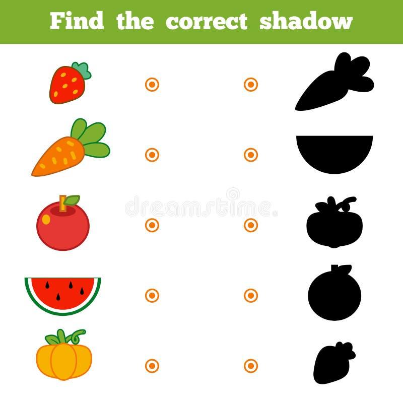 Βρείτε τη σωστή σκιά, παιχνίδι για τα παιδιά Σύνολο φρούτων κινούμενων σχεδίων διανυσματική απεικόνιση