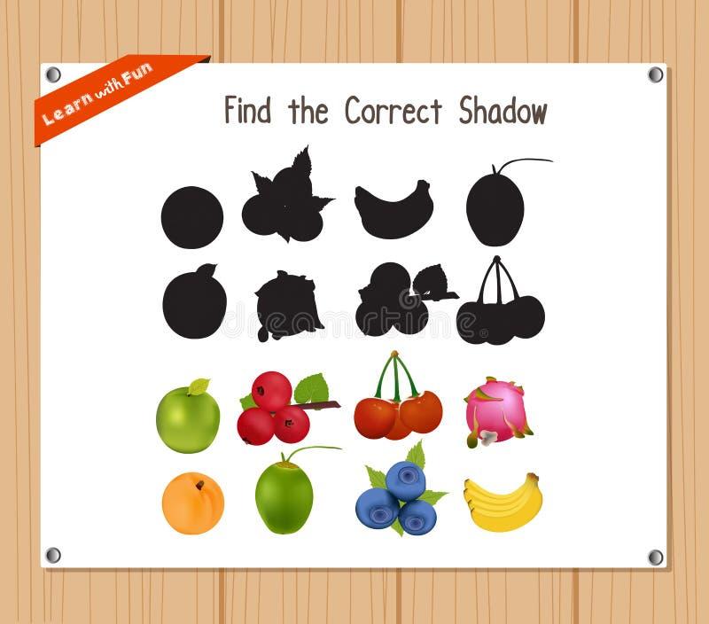 Βρείτε τη σωστή σκιά, παιχνίδι εκπαίδευσης για τα παιδιά - φρούτα ελεύθερη απεικόνιση δικαιώματος