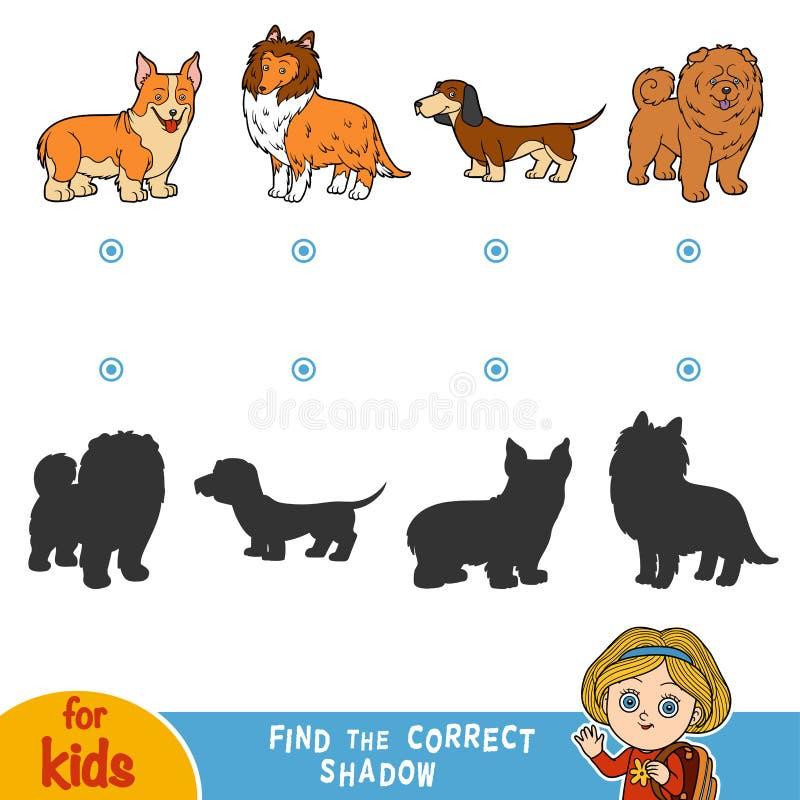 Βρείτε τη σωστή σκιά σκυλιά που τίθενται διανυσματική απεικόνιση