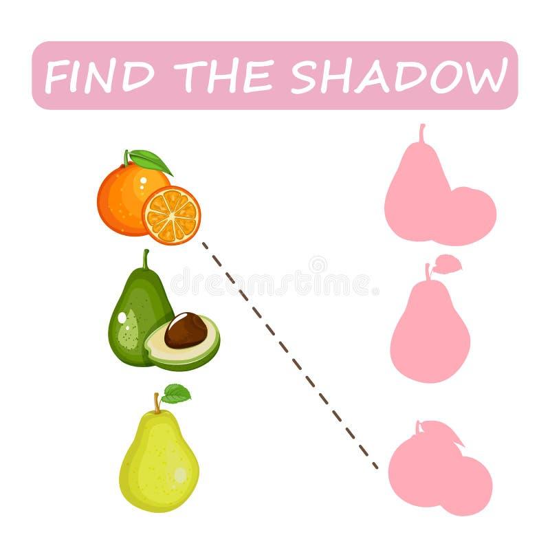 Βρείτε τη σωστή σκιά των φρούτων Αβοκάντο, αχλάδι και πορτοκάλι ελεύθερη απεικόνιση δικαιώματος