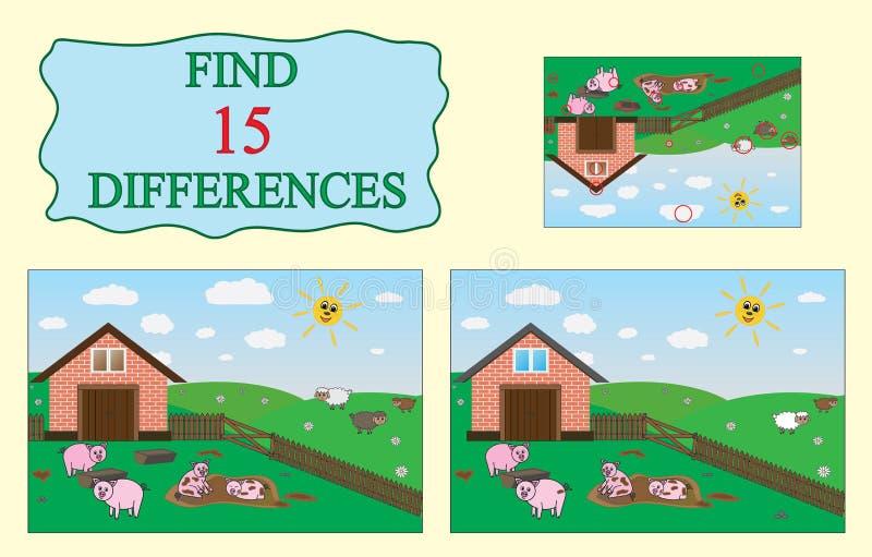 βρείτε τις διαφορές Εκπαιδευτικό παιχνίδι για τα παιδιά Αγρόκτημα, χοίροι, πρόβατα διανυσματική απεικόνιση