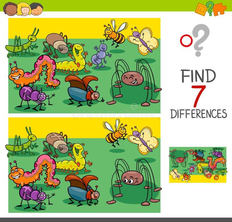 Βρείτε τις διαφορές με τη ζωική ομάδα χαρακτήρων ζωύφιων διανυσματική απεικόνιση