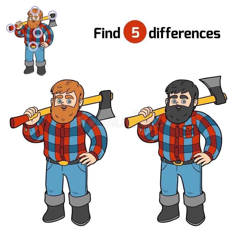 Βρείτε τις διαφορές, υλοτόμος διανυσματική απεικόνιση
