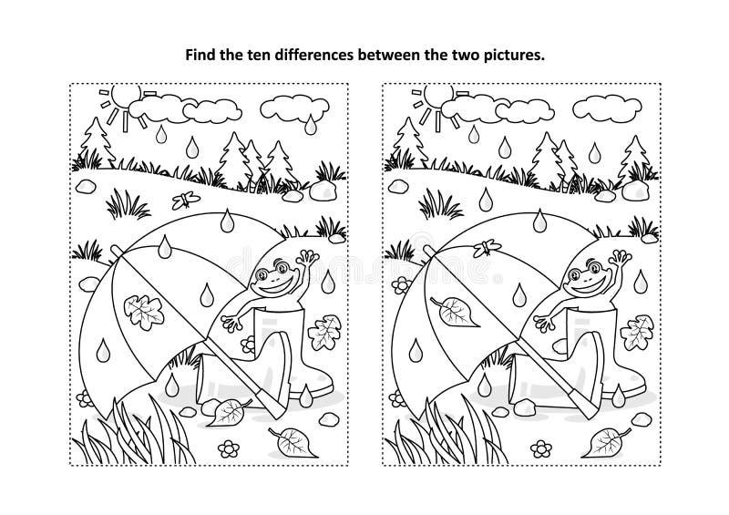 Βρείτε τον οπτικό γρίφο διαφορών και τη χρωματίζοντας σελίδα με την ομ διανυσματική απεικόνιση