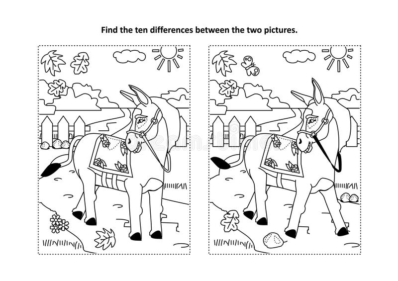 Βρείτε τον οπτικό γρίφο διαφορών και τη χρωματίζοντας σελίδα με το περπάτημα του γαιδάρου ελεύθερη απεικόνιση δικαιώματος