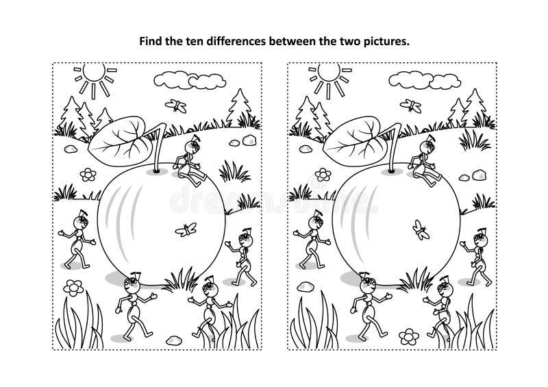 Βρείτε τον οπτικό γρίφο διαφορών και τη χρωματίζοντας σελίδα με το μήλο και τα μυρμήγκια ελεύθερη απεικόνιση δικαιώματος