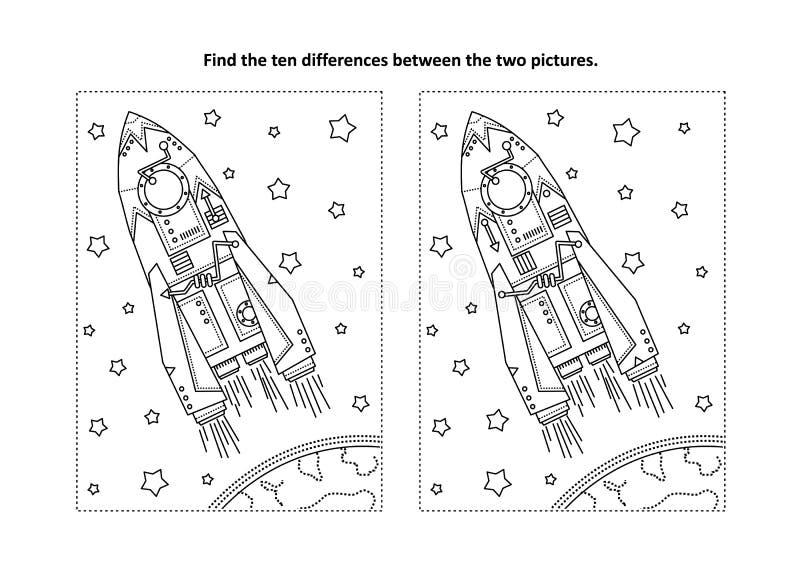Βρείτε τον οπτικό γρίφο διαφορών και τη χρωματίζοντας σελίδα με τον πύραυλο ή το διαστημόπλοιο απεικόνιση αποθεμάτων