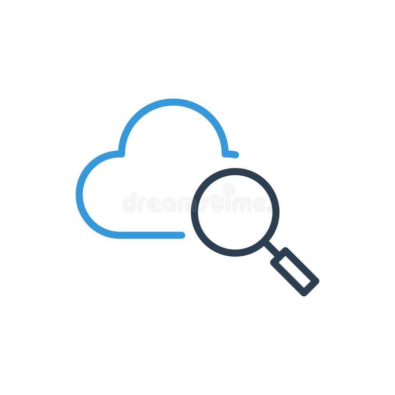 Βρείτε το εικονίδιο λογότυπων σύννεφων Διάνυσμα τέχνης γραμμών ελεύθερη απεικόνιση δικαιώματος