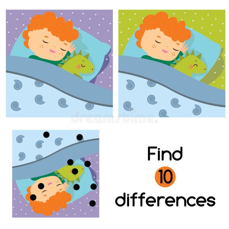 Βρείτε το εκπαιδευτικό παιχνίδι παιδιών διαφορών Φύλλο δραστηριότητας παιδιών με τον ύπνο αγοριών στο κρεβάτι ελεύθερη απεικόνιση δικαιώματος