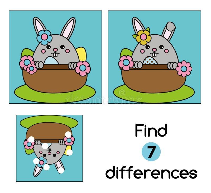 Βρείτε το εκπαιδευτικό παιχνίδι παιδιών διαφορών Φύλλο δραστηριότητας παιδιών, με το χαριτωμένο χαρακτήρα λαγουδάκι Πάσχας διανυσματική απεικόνιση