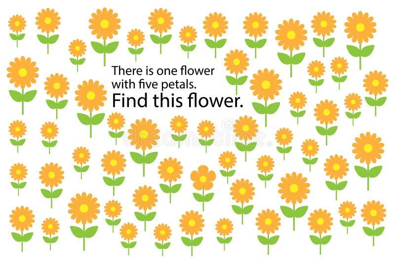 Βρείτε το λουλούδι με 5 πέταλα, παιχνίδι γρίφων εκπαίδευσης διασκέδασης άνοιξη για τα παιδιά, προσχολική δραστηριότητα φύλλων εργ ελεύθερη απεικόνιση δικαιώματος