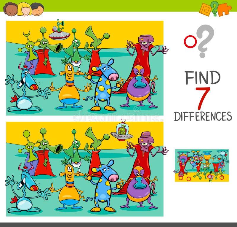 Βρείτε το παιχνίδι διαφορών με τους χαρακτήρες αλλοδαπών ελεύθερη απεικόνιση δικαιώματος