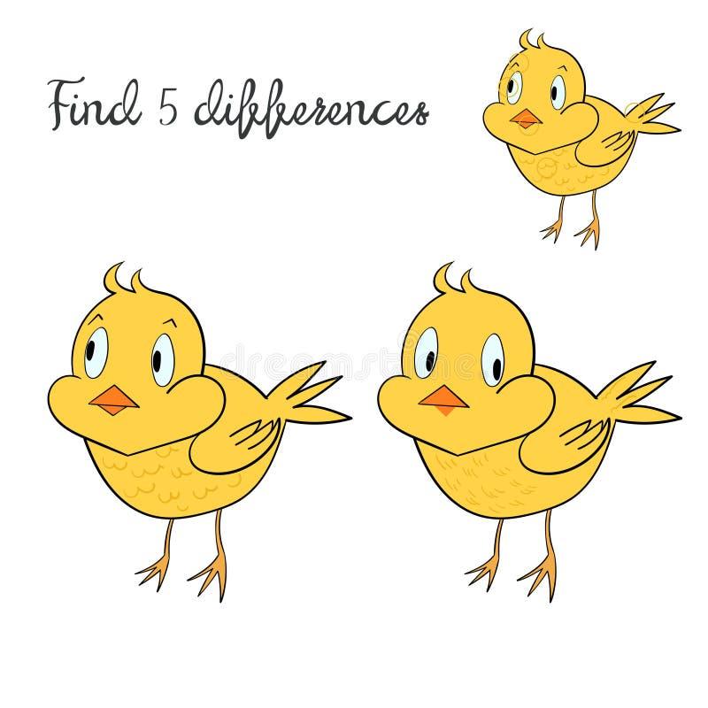 Βρείτε το σχεδιάγραμμα παιδιών διαφορών για το κοτόπουλο παιχνιδιού ελεύθερη απεικόνιση δικαιώματος