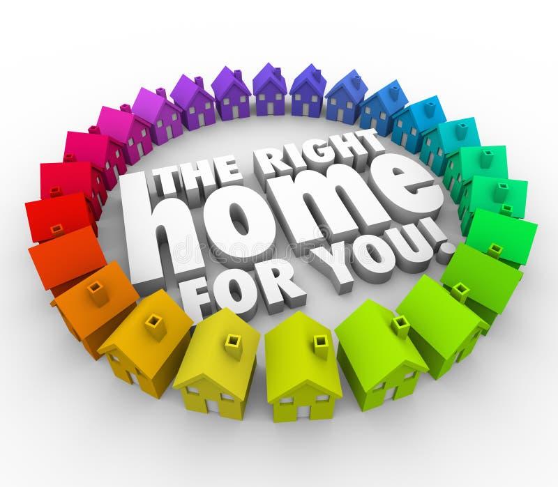 Βρείτε το σωστό σπίτι για σας ακίνητη περιουσία σπιτιών λέξεων απεικόνιση αποθεμάτων