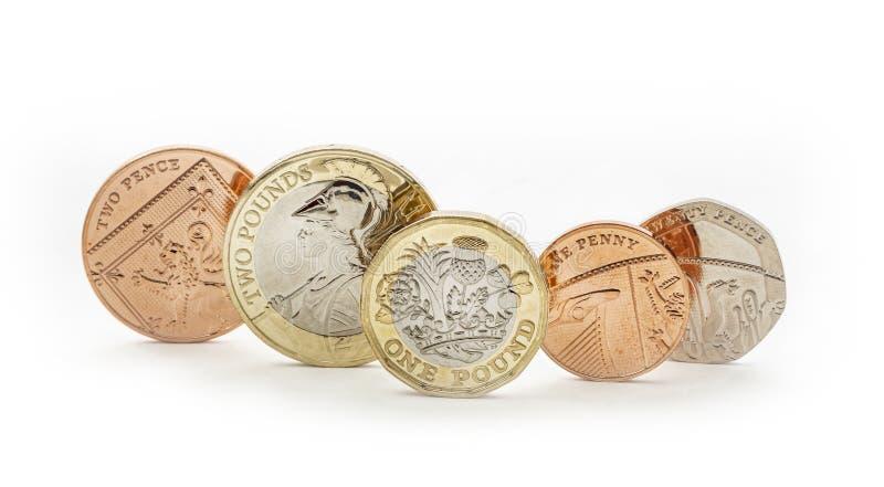 Βρετανικά χρήματα, κινηματογράφηση σε πρώτο πλάνο βρετανικών νομισμάτων στοκ εικόνες
