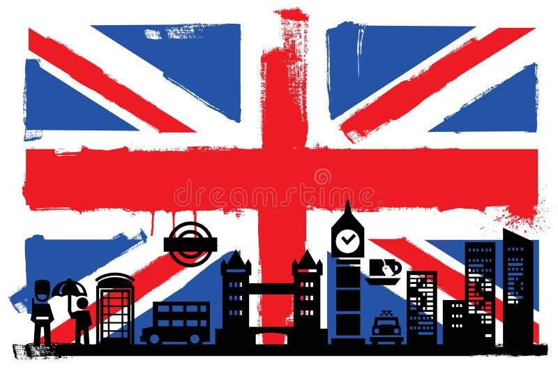Βρετανικές σημαία και σκιαγραφίες διανυσματική απεικόνιση