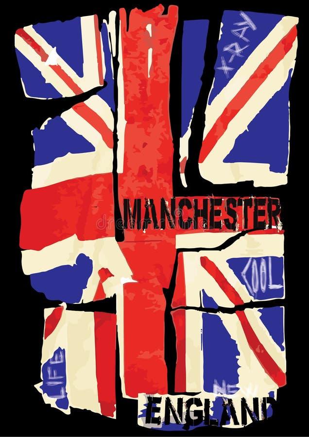 Βρετανική εθνική σημαία εμβλημάτων Grunge επίσης corel σύρετε το διάνυσμα απεικόνισης απεικόνιση αποθεμάτων
