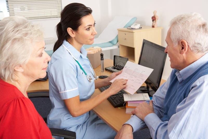 Βρετανική νοσοκόμα που μιλά στο ανώτερο ζεύγος στοκ εικόνα με δικαίωμα ελεύθερης χρήσης