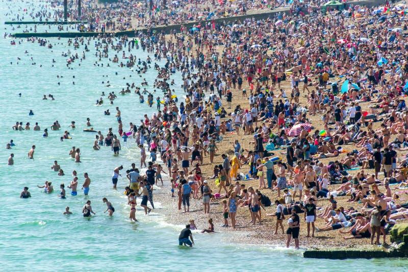 Βρετανική στις 29 Ιουνίου 2019 Μπράιτον παραλία, Μπράιτον και ανυψωμένος, ανατολικό Σάσσεξ, Αγγλία Χιλιάδες άνθρωποι χαλαρώνουν σ στοκ εικόνα με δικαίωμα ελεύθερης χρήσης