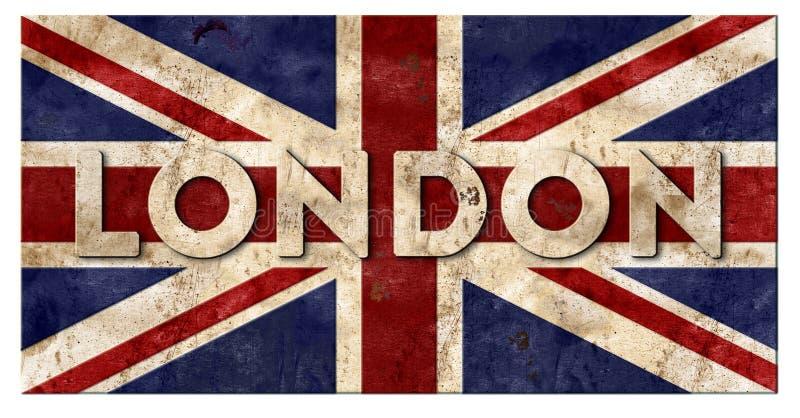 Βρετανική UK λογότυπων σημαδιών του Λονδίνου Union Jack σημαία Grunge στοκ εικόνες
