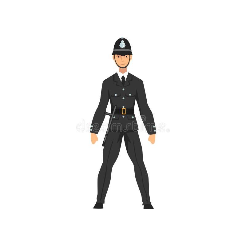 Βρετανικός αστυνομικός στην ομοιόμορφη, επαγγελματική διανυσματική απεικόνιση χαρακτήρα αστυνομικών ελεύθερη απεικόνιση δικαιώματος