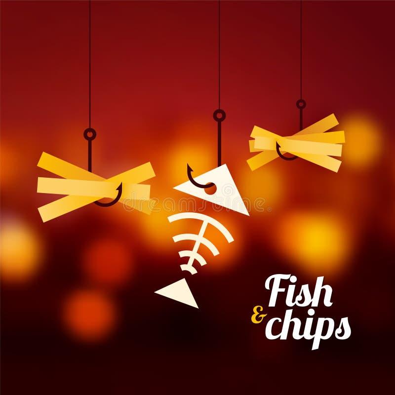 βρετανικός επιτραπέζιος παραδοσιακός ξύλινος πρόχειρων φαγητών ψαριών τσιπ απεικόνιση αποθεμάτων